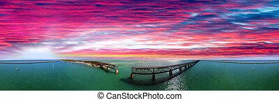 beau, aérien, florida., honda, parc, état, coucher soleil, bahia, vue