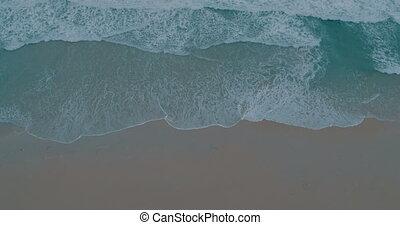 beau, aérien, rivage, vidéo, mer, vagues, briser