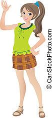 beau, adolescent, illustration, onduler, sourire., girl, dessin animé, queue cheval