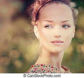 beau, adolescent, romantique, beauté, outdoor., girl, modèle