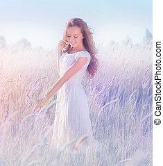 beau, adolescent, romantique, nature, modèle, apprécier, girl