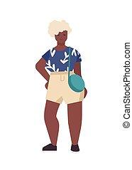 beau, africaine, élégant, plat, isolé, arrière-plan., character., positif, désinvolte, curvy, modèle, blanc, blond, taille, vecteur, cheveux, illustration., plus, dessin animé, américain, corps, fashion., girl