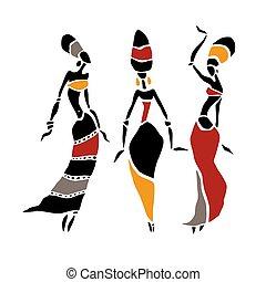 beau, africaine, femmes