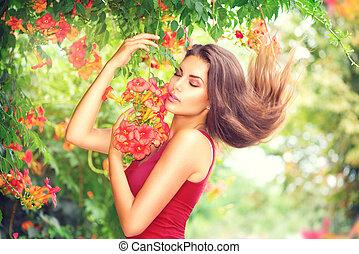 beau, apprécier, jardin, beauté, nature, exotique, modèle, fleurs, girl