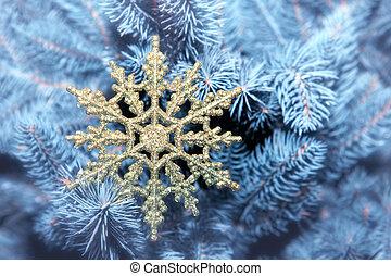 beau, arbre, noël, flocon de neige
