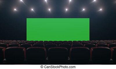 beau, art, cinéma, sur, par, technologie, seats., concept., animation, points., 3840x2160, 3d, écran, lumières, en mouvement, hd, hall., large, poursuite, vert, 4k, ultra