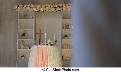 beau, autel, là, mariage, décoré, celebration.