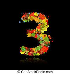 beau, automne, 3, leaves., nombre