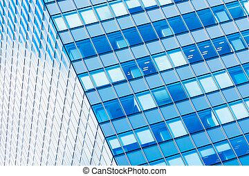 beau, bâtiment, bureau, business, fenêtre, verre, forme, architecture
