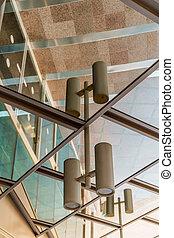 beau, bâtiment, extérieur, reflet, business, moderne, verre, architecture, rue., miroir, offices.