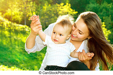 beau bébé, outdoors., dame nature
