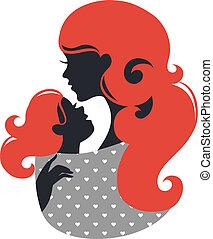 beau bébé, silhouette, fronde, mère