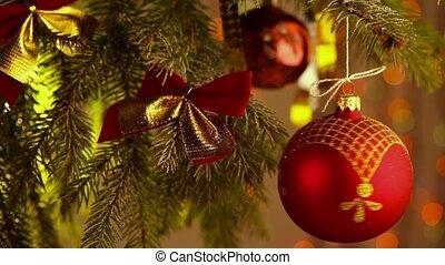 beau, babioles, coloré, arbre, décoré, noël