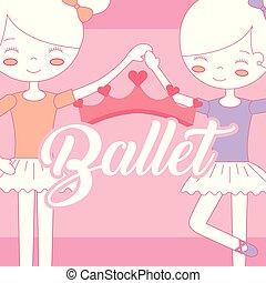 beau, ballerines, ballet, couronne, tenant mains