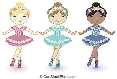 beau, ballerines, filles, trois