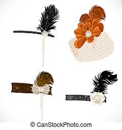 beau, bandeaux, plumes, isolé, retro, fond, fête, chapeau blanc