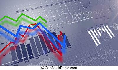 beau, bleu, 1080., fait boucle, business, concept., diagrammes, screen., animation, numérique, croissant, hd, 3d