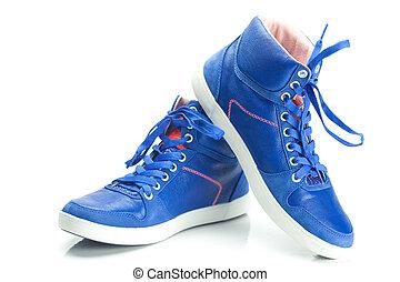 beau, bleu, chaussures, athlétique, isolé, blanc
