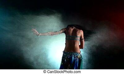 beau, bleu, haut, danseur, décrochage, jeune, fumée, noir, ventre, came, girl, mouvements, torse, rouges