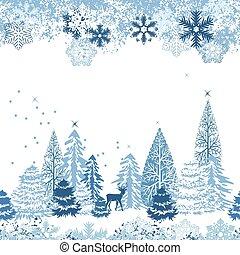beau, bleu, hiver, modèle, seamless, forêt