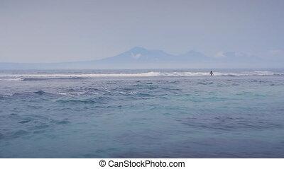 beau, bleu, lent, montagne, océan, mouvement, fond, vagues