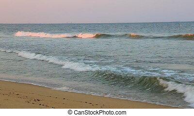 beau, bleu, nord, océan, rivage, vague
