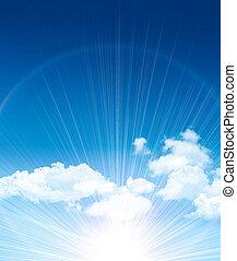 beau, bleu, nuages, ciel