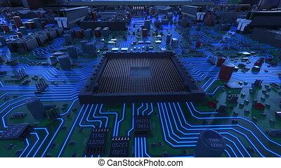 beau, bleu, signals., installation, carte mère, concept., unité centrale traitement, flares., ultra, processus, animation, planche, circuit, numérique, 4k, technologie, processeur, hd, 3d