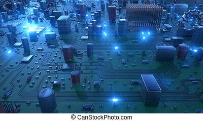 beau, bleu, signals., vol, carte mère, sur, flares., animation, courant, fait boucle, planche, circuit, technologie numérique, concept., 3d