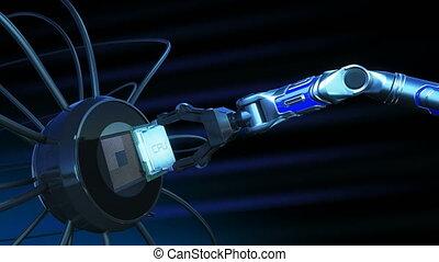 beau, bleu, uhd, signals., processus, concept., unité centrale traitement, flares., robot, 4k, installation, carte mère, animation, planche, circuit, numérique, processeur, technologie, bras, futuriste, 3d