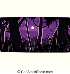 beau, bois, lune, forêt, profond, exotique, silhouettes, vecteur, illustration, fond, nuit, jungle