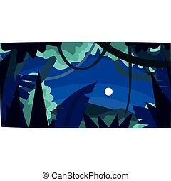 beau, bois, lune, illustration, exotique, silhouettes, vecteur, jungle, fond, nuit, forêt