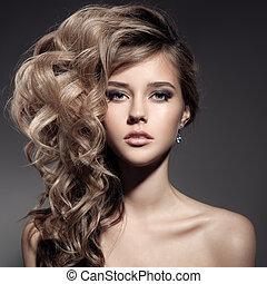 beau, bouclé, longs cheveux, blonds, woman.