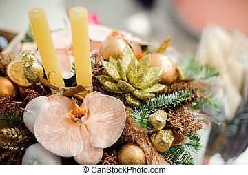beau, bouquet, fleurs, hiver, bougies