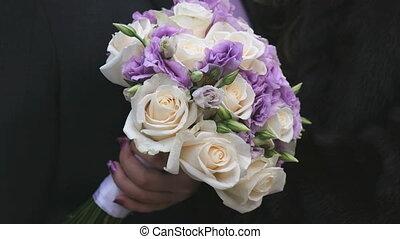 beau, bouquet, gros plan, mariage, roses