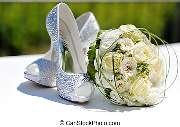 beau, bouquet, mariage, chaussures, roses