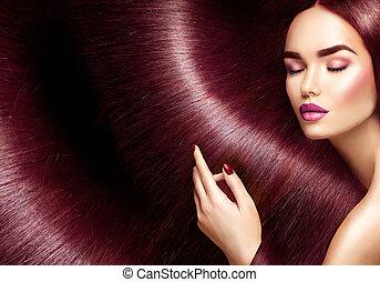 beau, brun, femme, beauté, directement, longs cheveux, brunette, fond, hair.