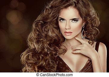 beau, brun, femme, beauté, isolé, long, luxueux, cheveux, ondulé, portrait., cheveux, fond, sombre, modèle, mode, girl