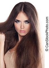 beau, brun, femme, long, mode, poser, hair., portrait, closeup, modèle, studio.
