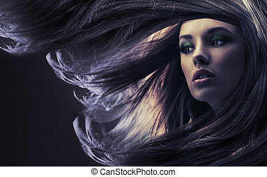 beau, brun, long, clair lune, cheveux, dame
