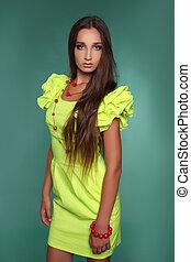 beau, brun, style, femme, jeune, long, mode, joli, hair., modèle, poses, robe, studio.