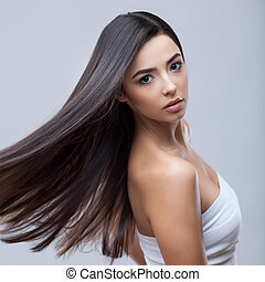 beau, brunette, sain, longs cheveux, girl