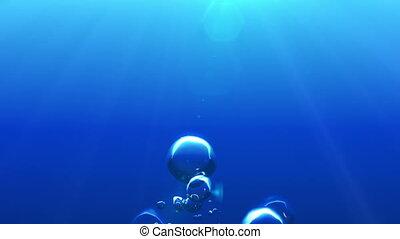 beau, bulles, underwater., air