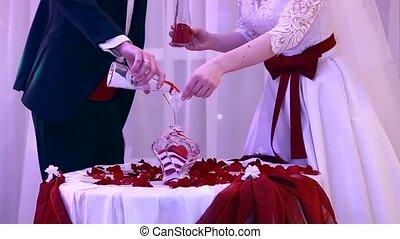 beau, cérémonie, sable, mariage