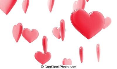 beau, cœurs, fait boucle, lustré, hd