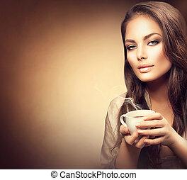 beau, café, femme, jeune, chaud, boire