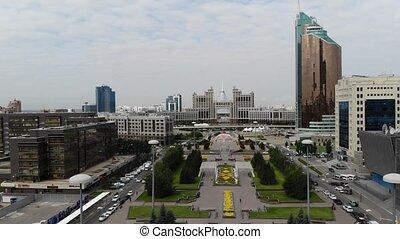 beau, carrée, centre, astana., grand, expo, 4k, capital, 2017, video., kazakhstan