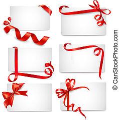 beau, cartes, ensemble, rouges