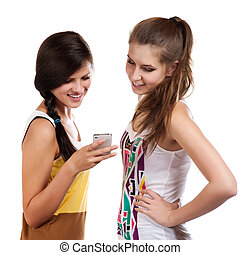 beau, cellphone, recevoir, filles, sms, jeune, envoyer, utilisation