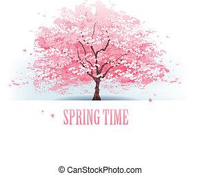 beau, cerisier, fleur